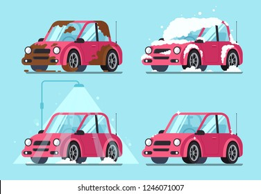 Washing dirty car. Steps of cleaning cars from muddy dust and cartoon dirt covered wash dripping foam to clean and shiny red automobile  illustration isolated flat sign set