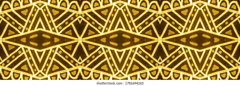 Washing Effect Background. Folklore Style. Tie Dye Wash. Abstract Nordic Ethnic Element. Wintry Gold, Yellow On Black. Brush Stroke Seamless Wallpaper.