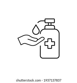 Washing hand with sanitizer liquid soap line icon