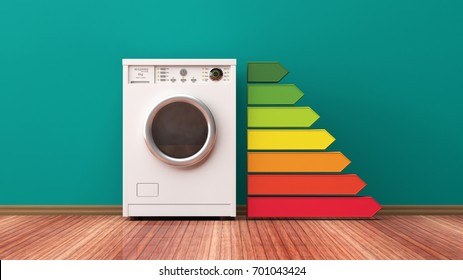 Washing machine and energy efficiency rating. 3d illustration