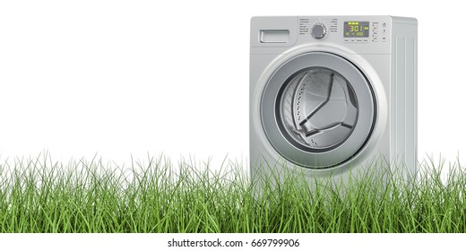Washing machine on the green grass, 3D rendering isolated on white background