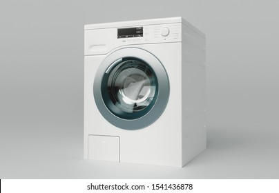 Washing machine on the white background, 3d rendering