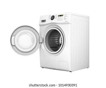 Washing machine with an open door without shadow on a white background 3d illustration