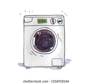 Washing machine washes the laundry. Humorous watercolor illustration