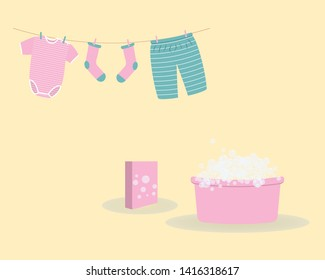 Washing: washed baby clothes cute Capri pants,socks and  bodysuit hanging on clothesline and they are attached by clothespins.Wash basin with soap foam and pack of washing powder.Raster illustration