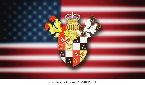 Washington Coat of Arms, Greater coat of arms of the family on the blurred USA flag.