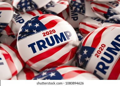 WASHINGTON, DC - APRIL 25, 2018: 3D illustration of presidential campaign buttons of Donald Trump with very shallow depth of field.