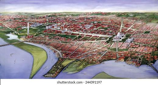 Washington, D.C. Bird's-eye view of the District of Columbia. 1901