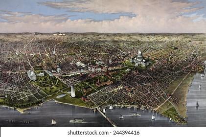 Washington, D.C. Bird's-eye view of the District of Columbia. 1880