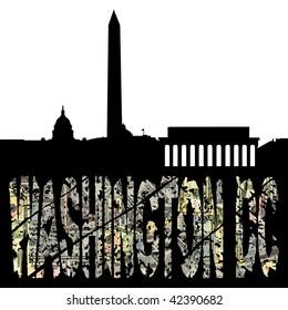 Washington DC dollar text with skyline illustration