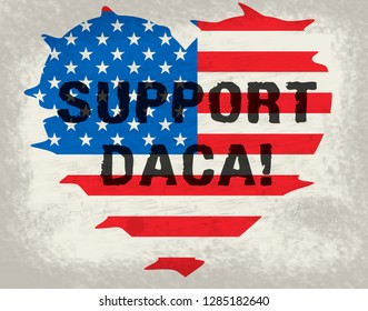 Washington, DC - January 2019: Daca Protest For Dreamers Deal Road To Citizenship. Naturalization Of Illegal immigrant Children In Usa - 2d Illustration