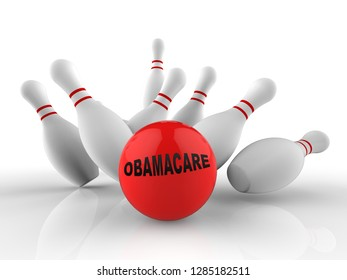 Washington, DC - January 2019: Obamacare Repeal Or Replace Us Healthcare Reform. Usa Legislation For Affordable Health Care - 3d Illustration