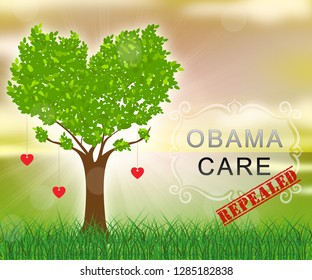 Washington, DC - January 2019: Obamacare Repeal Or Replace American Healthcare Reform. Usa Legislation For Affordable Health Care - 2d Illustration