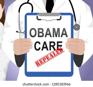 Washington, DC - January 2019: Obamacare Repeal Or Replace American Healthcare Act Reform. Usa Legislation For Affordable Health Care - 3d Illustration