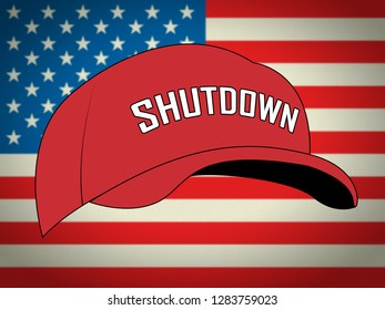 Washington, DC - January 2019: Trump Shutdown Hat Means American Government Closed And Employees Furloughed. Standoff Between Democrats And Republicans - Editorial Illustration