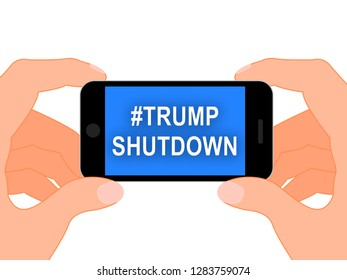 Washington, DC - January 2019: Trump Shutdown Mobile Means American Government Closed For Longest Political Standoff. Senate And Congress Standstill - Editorial Illustration