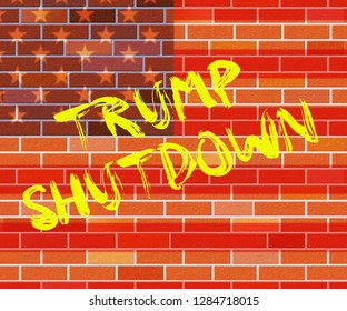 Washington, DC - January 2019: Trump Shutdown Wall Means American Government Closed And Employees Furloughed. Standoff Between Democrats And Republicans - Editorial Illustration