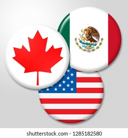 Washington, DC - January 2019: Trump Nafta Badges - Negotiation Deal With Canada And Mexico. Treaty Or Agreement For Border Economics - 3d Illustration