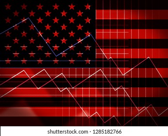 Washington, DC - January 2019: Trump Economics Plan Strategy For Usa Growth. Stock Market Financial Income Or Recession And Debt - 2d Illustration