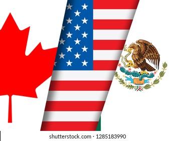 Washington, DC - January 2019: Trump Nafta Negotiation Deal With Canada And Mexico. Treaty Or Agreement For Border Economics - 3d Illustration