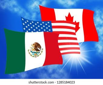 Washington, DC - January 2019: Trump Nafta Negotiate Deal With Canada And Mexico. Treaty Or Agreement For Border Economics - 3d Illustration