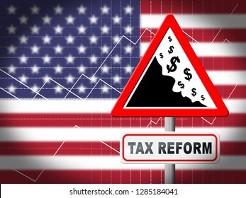 Washington, DC - January 2019: Trump Tax Reform To Change Taxation System In Usa. GOP Or Republican Finance Policy Changed - 3d Illustration