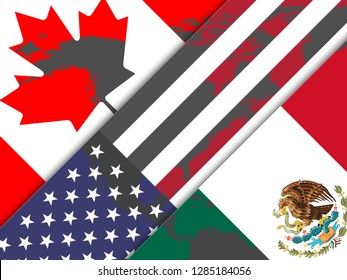 Washington, DC - January 2019: Trump Nafta Flags - Negotiation Deal With Canada And Mexico. Treaty Or Agreement For Border Economics - 2d Illustration