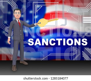 Washington, DC - January 2019: Trump Russia Sanctions Monetary Embargo On The Russian Federation. Putin Trade And Bank Accounts Restricted - 3d Illustration