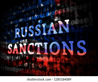 Washington, DC - January 2019: Trump Russia Sanctions Banking Embargo On Russian Federation. Putin Trade And Bank Accounts Restricted - 3d Illustration