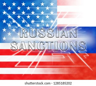Washington, DC - January 2019: Trump Russia Sanctions Monetary Embargo On Russian Federation. Putin Trade And Bank Accounts Restricted - 3d Illustration