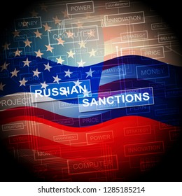 Washington, DC - January 2019: Trump Russia Sanctions Monetary Embargo On Russian Federation. Putin Trade And Bank Accounts Restricted - 2d Illustration