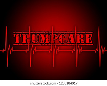 Washington, DC - January 2019: Trumpcare Or Trump Care Health Repeal Of Obamacare. Medical Healthcare Insurance Coverage - 2d Illustration