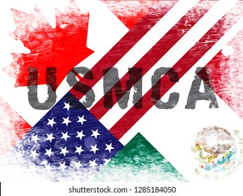 Washington, DC - January 2019: USMCA United States Mexico Canada Agreement Treaty. Political Contract And Deal By Donald Trump - 2d Illustration