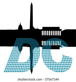 Washington DC Skyline with dollar symbol text illustration JPEG