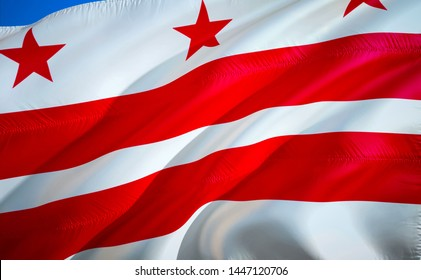 Washington D.C. state flag. 3D Waving American United States flag design. Symbol of Washington D.C. and District of Columbia, 3D rendering. Washington D.C. Waving state flag concept.