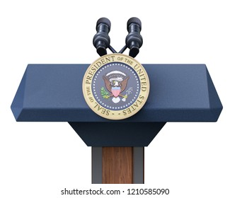 Washington DC, United States of America - October 22, 2018 : US presidents podium and Seal of the President of The United States, with microphones, isolated on white - 3D illustration