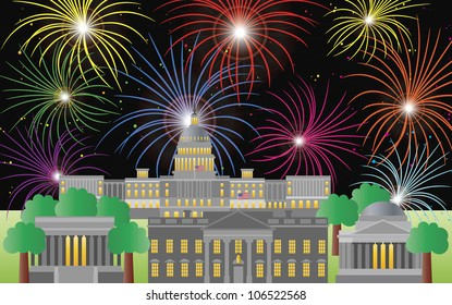 Washington DC US Capitol Building Monument Jefferson and Lincoln Memorial with Fireworks Illustration Raster Vector