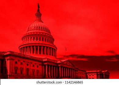 Washington DC, US Capitol Building; with deep red color overlay.