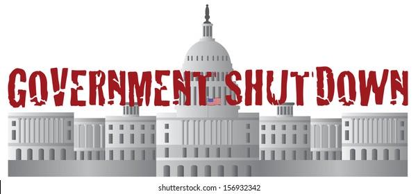 Washington DC US Capitol Building Government Shutdown Red Text Outline Raster Illustration