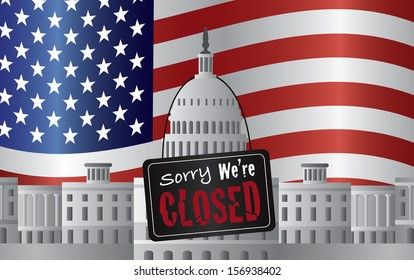 Washington DC US Capitol Building with We are Closed Sign on US American Flag Background Raster Illustration