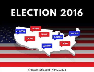 WASHINGTON, DC, US - JULY 18, 2016: 3D illustration of map of US with speech balloon saying Clinton and Trump showing the opinions of republican and democrat voters on the top of an American flag.
