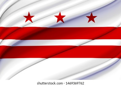 Washington Dc waving flag illustration. Regions and Cities of the United States. Perfect for background and texture usage.