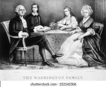 The Washington Family, George Washington (left), Martha Washington (right), lithograph by Currier & Ives, 1867