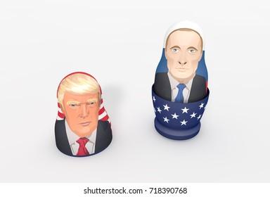 WASHINGTON - July 24th: Trump Putin Russian nesting doll (Matryoshka). U.S. President Donald Trump denies Russia collusion and Russia's meddling in the election process. 3D Illustration.