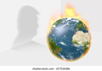 WASHINGTON - JUNE 1, 2017: Burning Earth Globe with Trump Silhouette in background. President Donald Trump announced United States to Withdraw from Paris Climate Agreement on June 1st. 3D Illustration