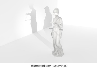 WASHINGTON - JUNE 16th: Statue of Justice with man silhouette in background. U.S. President Donald Trump is being investigated by counsel Robert Mueller for possible obstruction of justice. 3D Scene.
