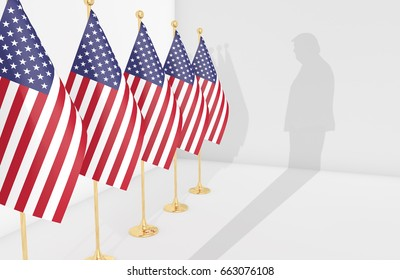 WASHINGTON - JUNE 19th, 2017: American flags and silhouette of Donald Trump. President Trump is being investigated by counsel Robert Mueller for possible obstruction of justice. 3D Illustration.