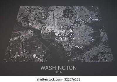 Washington map, satellite view, section 3d, United States