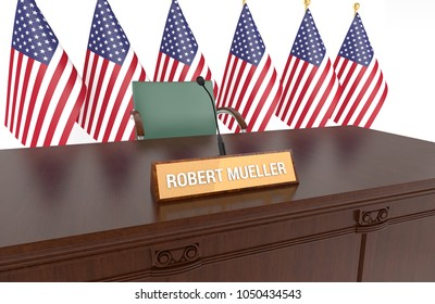 WASHINGTON - March 12th: Wooden table with desk plaque ROBERT MUELLER and American flags. Mueller to investigate possible collusion with Russia by Donald Trump's presidential campaign. 3D Illustration