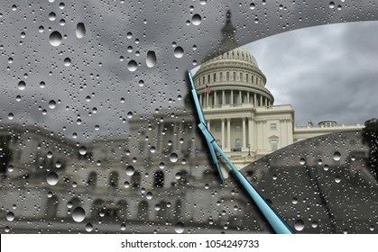 Washington news concept and political investigation as the United States congress blurred by rain with a wiper cleaning a window as a symbol for government transparency with 3D illustration elements.